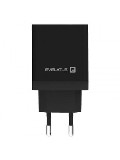 EVELATUS TRAVEL CHARGER ETC04 USB2.4A + TYPE C 3A 30W POWER DELIVERY BLACK